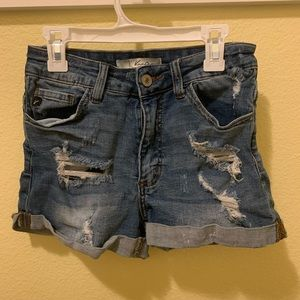 Kancan Distressed Mid Rise Shorts